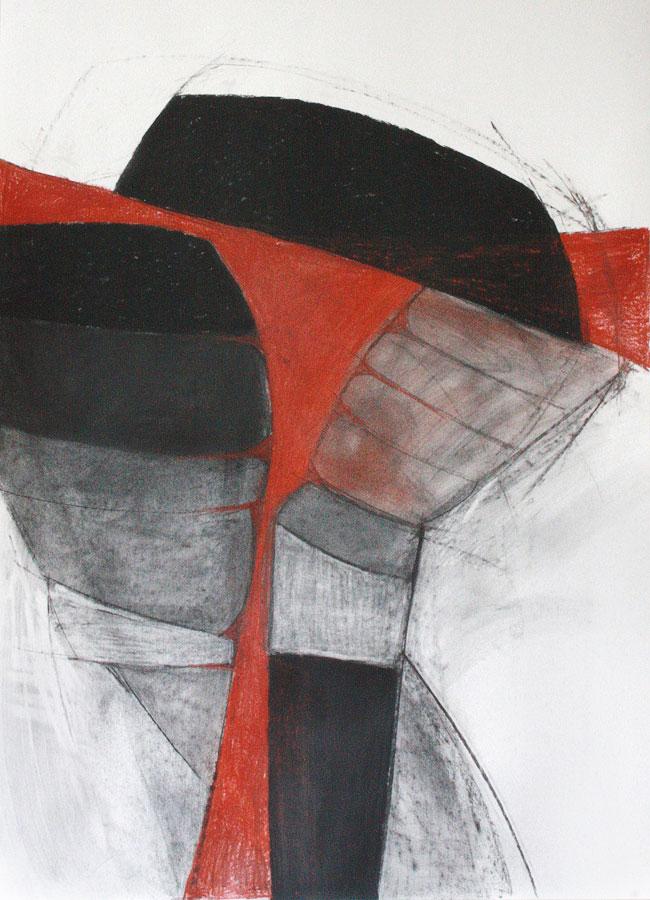 Corpus, sich dehnend . Kreide Rötel Zeichnung auf Papier . Beate Debus . 2012