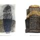 "Schattenfall . Gouache Kreide Grafit | Aufgang . Holzrelief . Beate Debus . 2018/2019 (Katalog ""Rhytmen der Form"", 2020)"
