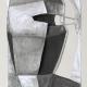 Maskenkopf . Kreidezeichnung, Papierfaltung . Beate Debus . 2009
